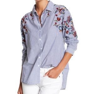 BeachLunchLounge Embroidered Striped Button Down L